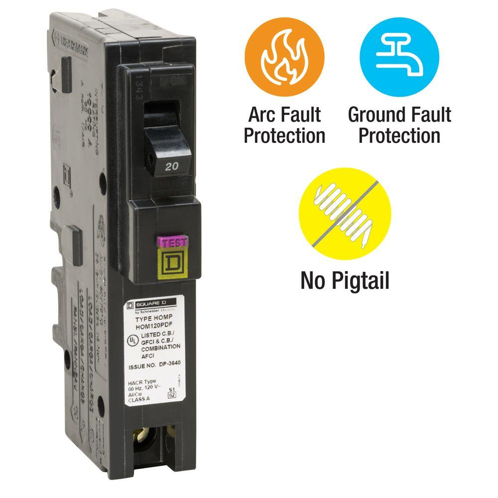 Circuit Breakers Power Distribution The Home Depot Wiring Ground Fault Outlet Homeline 20 Amp Single Pole Plug On Neutral Dual Function Cafci And Gfci