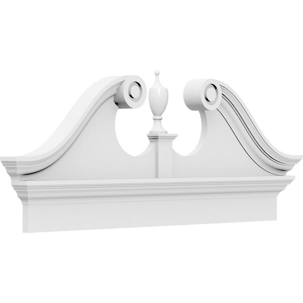 2-3/4 in. x 84 in. x 27-7/8 in. Rams Head Architectural Grade PVC Combination Pediment Moulding