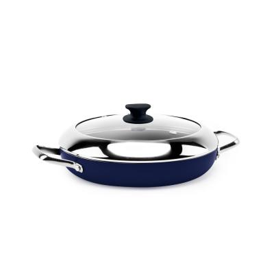 11 in. Ceramic Nonstick Diamond Infused Blue Grill Genie with Lid