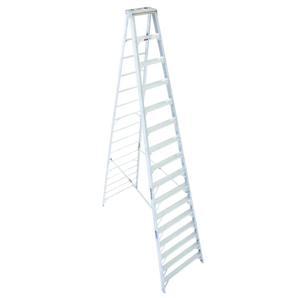 Werner 16 Ft Aluminum Step Ladder With 300 Lb Load Capacity Type Ia Duty Rating 416 The Home Depot