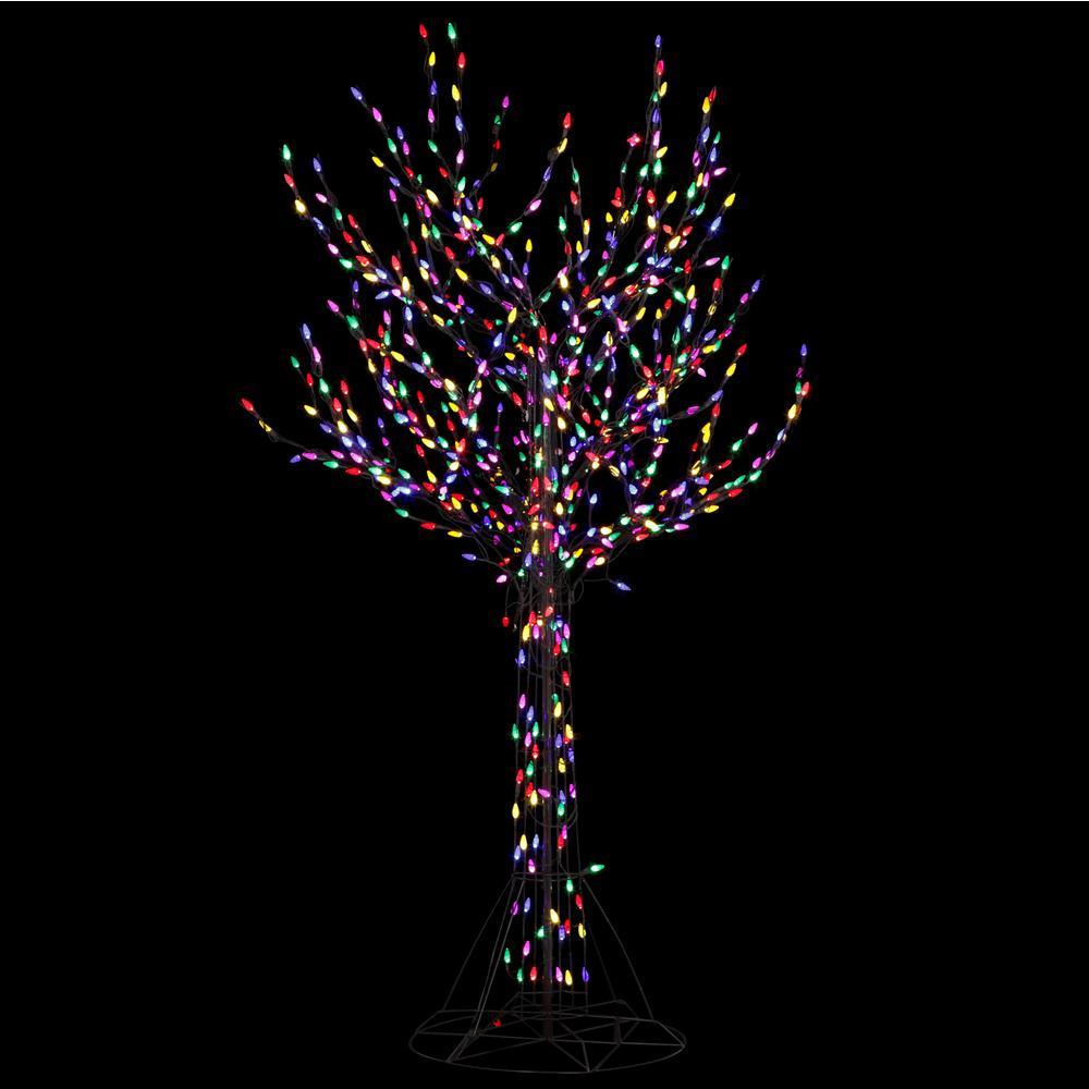 8 ft Pre Lit LED Bare Branch Christmas Tree Multi Color ...