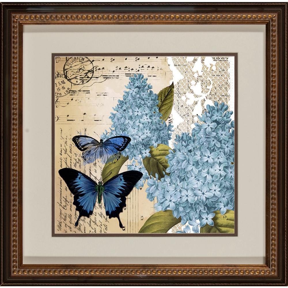 """18.5 in. x 18.5 in. """"Postacard Butterfly A"""" Framed Wall Art"""