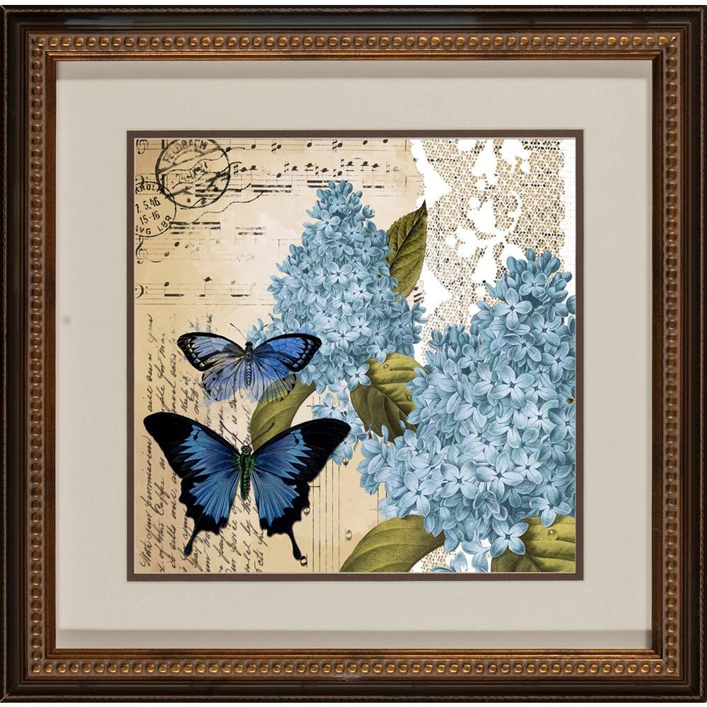 "null 18.5 in. x 18.5 in. ""Postacard Butterfly A"" Framed Wall Art"
