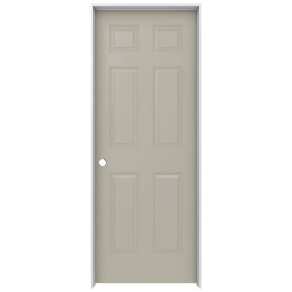JELD-WEN 28 in. x 80 in. Colonist Desert Sand Right-Hand Smooth Solid Core Molded Composite MDF Single Prehung Interior Door