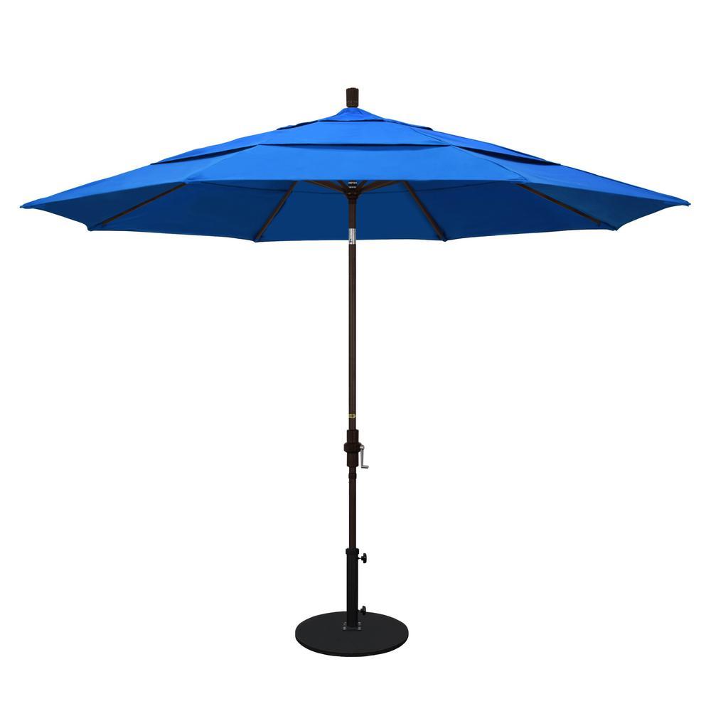 California Umbrella 11 Ft. Aluminum Collar Tilt Double Vented Patio Umbrella  In Pacific Blue Olefin