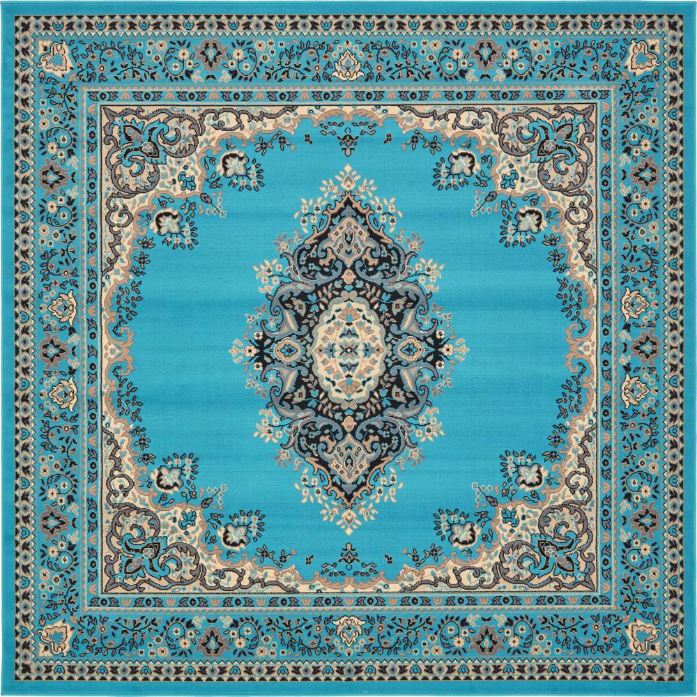 Unique Loom Mashad Turquoise 8 Ft. X 8 Ft. Square Rug