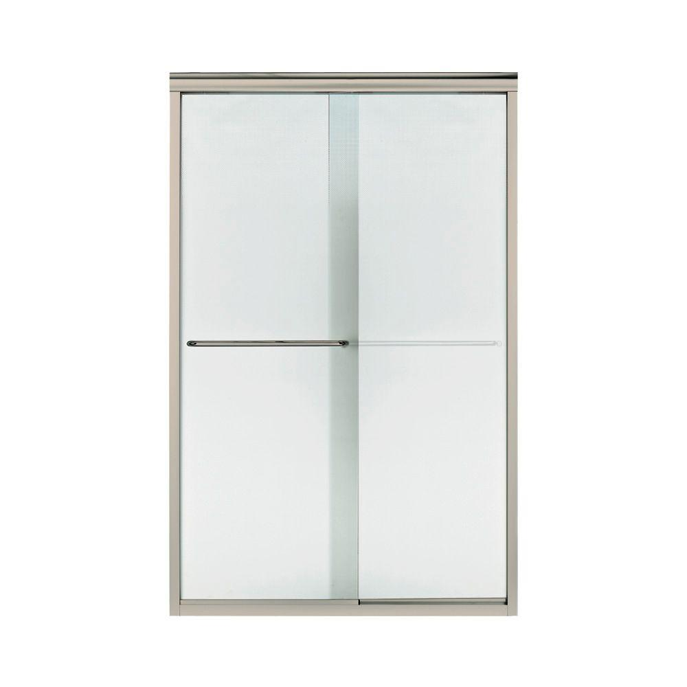 STERLING Finesse 47-1/4 in. x 70-5/16 in. Semi-Frameless Sliding Shower Door in Nickel with Lake Mist Glass Pattern