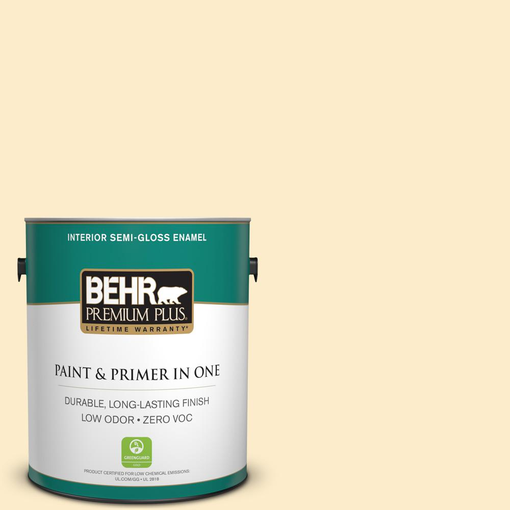 BEHR Premium Plus 1-gal. #P270-1 Honey Infusion Semi-Gloss Enamel Interior Paint