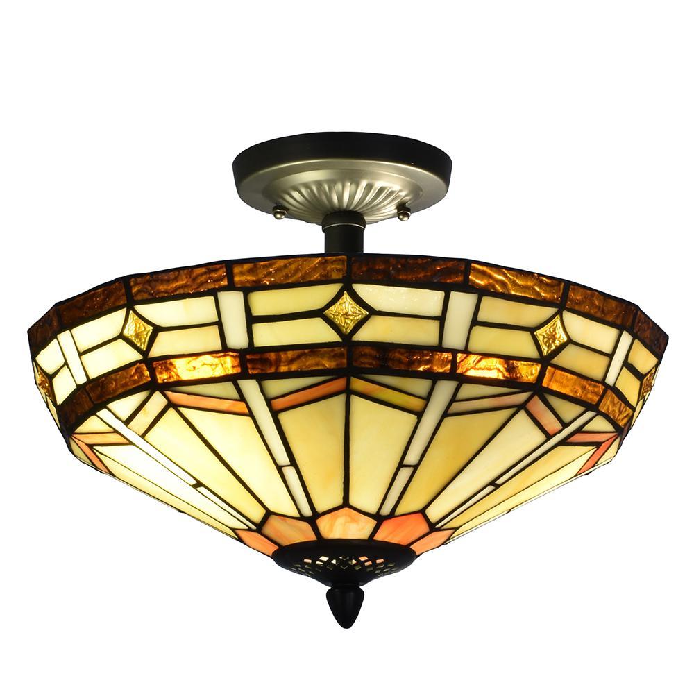 Dale Tiffany Jewel Mission 2-Light Antique Bronze Semi-Flush Mount Light
