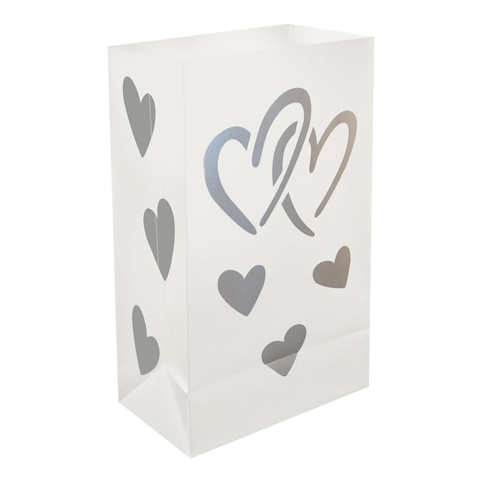 Lumabase Plastic Hearts Luminary Bags (12-Count)