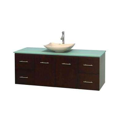 Centra 60 in. Vanity in Espresso with Glass Vanity Top in Green and Sink