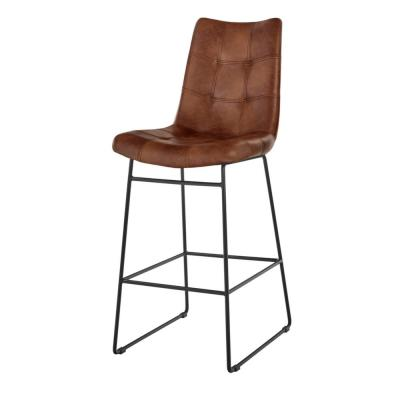 Ivers Black Metal Upholstered Bar Stool with Back and Antique Brown Seat (18.5 in. W x 45 in. H)