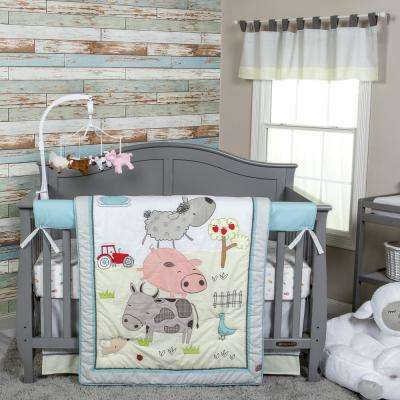 Farm Stack 4-Piece Crib Bedding Set