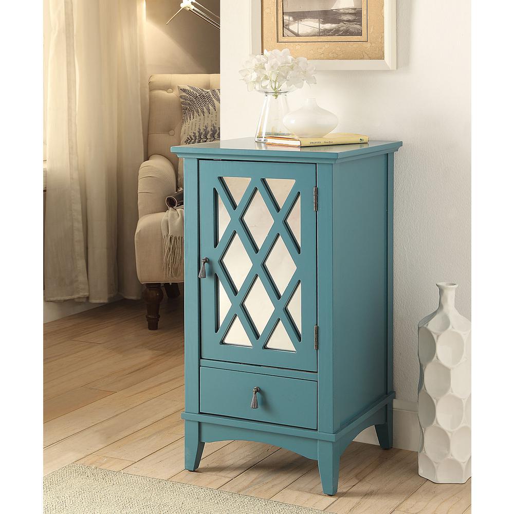 Linon Home Decor Largo Antique Turquoise Storage Cabinet ...