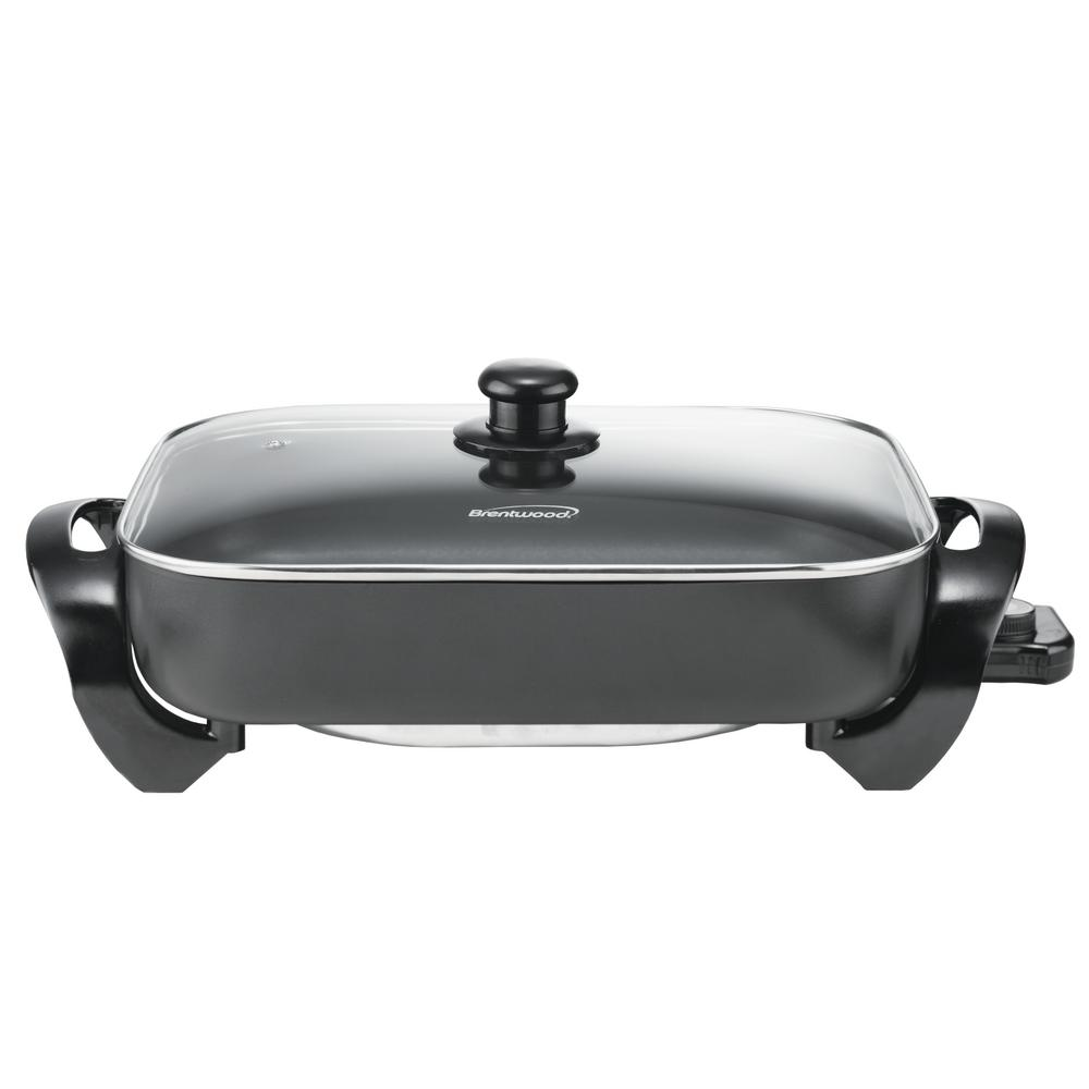 Brentwood Non-Stick Electric Skillet, Black This family-sized 16 in. 1400-Watt Electric Skillet will make family meal time prep a snap. It has a see-through tempered glass lid that lets you safely see what you are cooking without the contents splattering all over the countertop. The cool-touch handles means no burned fingers should you touch the handles. Color: Black.