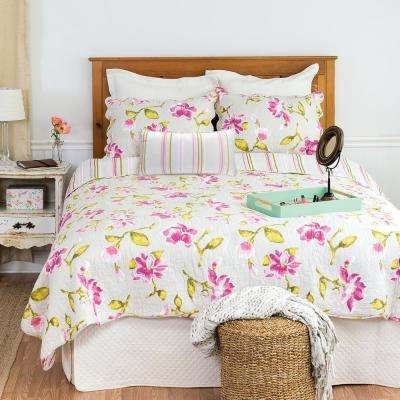 White Liliann King Quilt Set