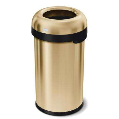 16 Gal. Heavy-Gauge Stainless Steel Bullet Open Top Commercial Trash Can in Brass