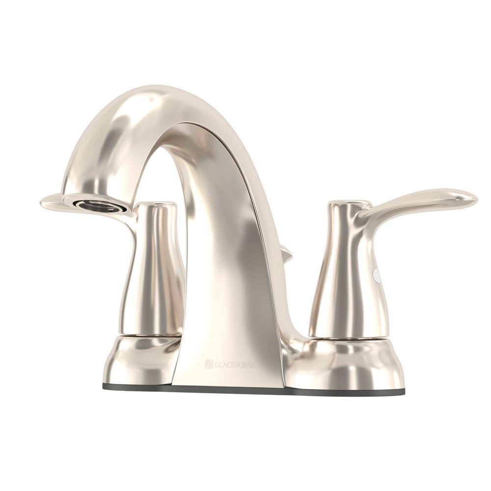 GLACIER BAY Gable 4 in. Centerset 2-Handle Mid-Arc Bathroom Faucet in Brushed Nickel