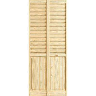 36 in. x 80 in. Louver/Panel Pine Unfinished Interior Closet Bi-fold Door