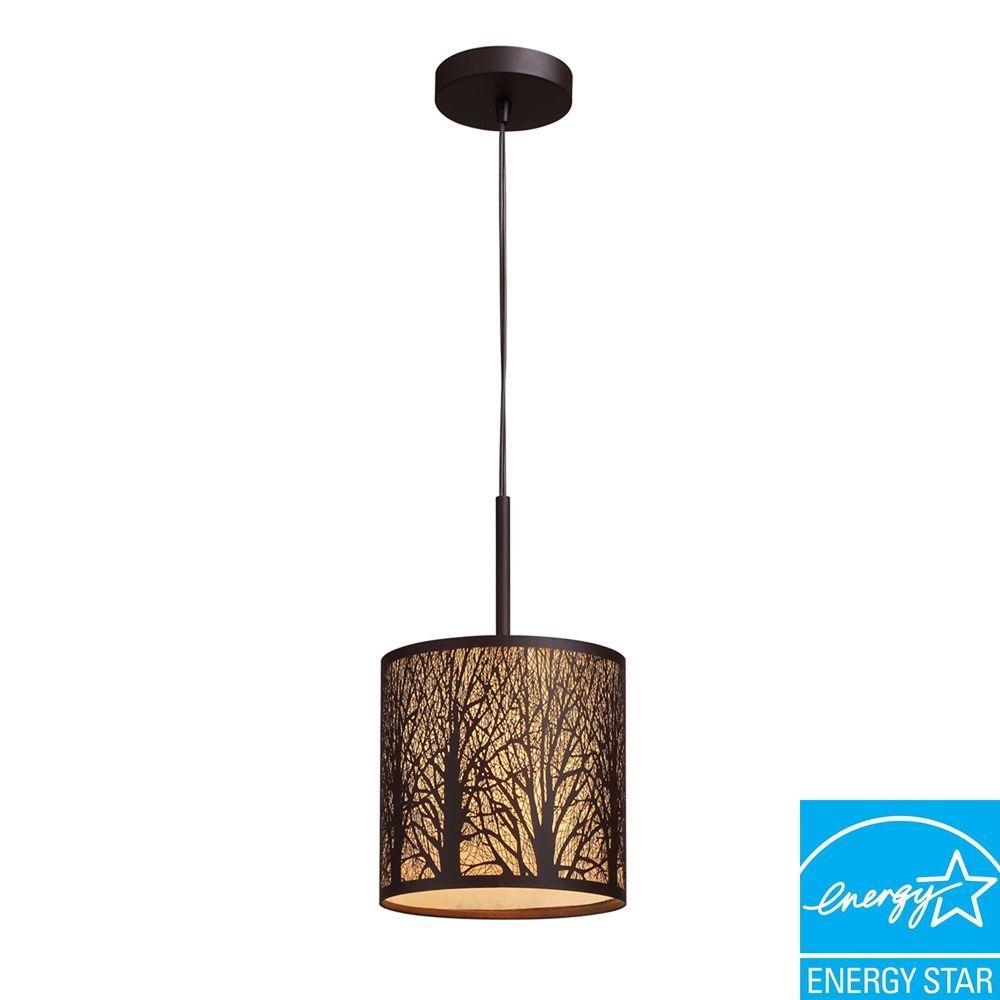 Titan Lighting Woodland Sunrise 1-Light Aged Bronze Pendant