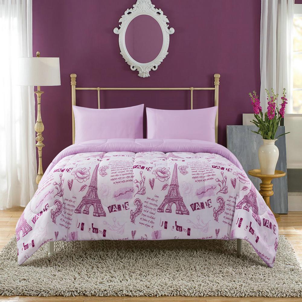 Paris Dream 5-Piece Pink Full Mini Bed-In-A-Bag