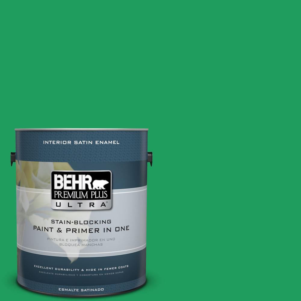 BEHR Premium Plus Ultra 1-gal. #S-G-450 Herbal Tea Satin Enamel Interior Paint