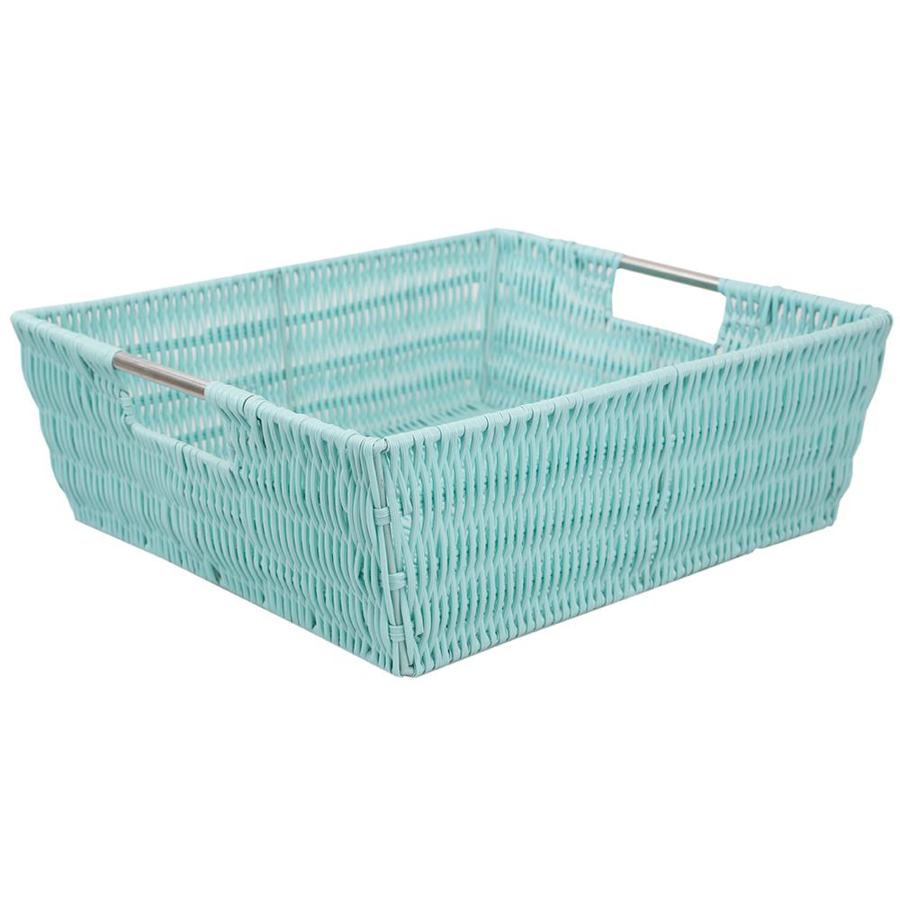 Intricate Decorative Weave 13 in. x 5 in. Turquoise Basket