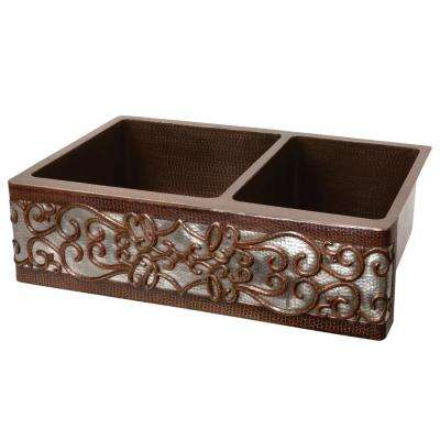 33 in. Copper  Double Bowl 60/40 Kitchen Farmhouse Apron Front Scroll Sink in Oil Rubbed Bronze and Nickel
