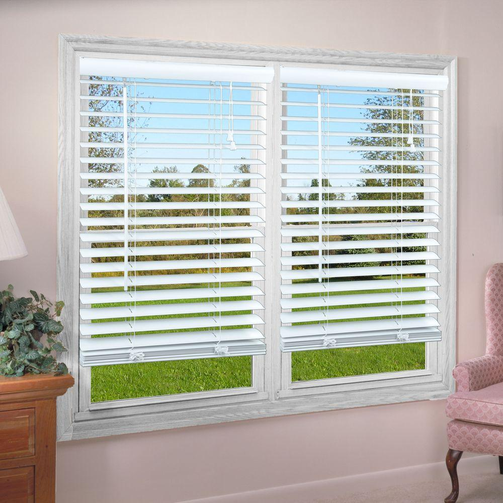 Perfect lift window treatment white 2 in premium vinyl for 2 way window blinds