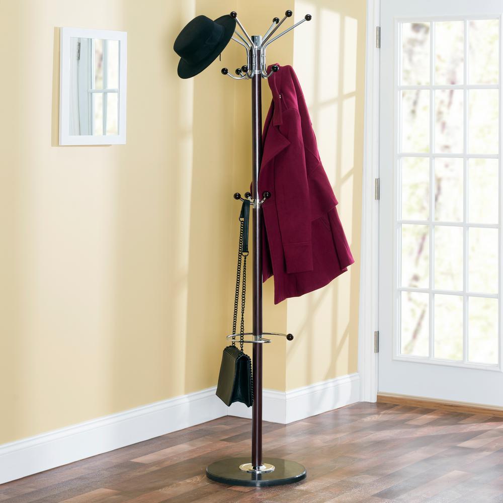 Home Basics Mahogany Coat Rack CR49296