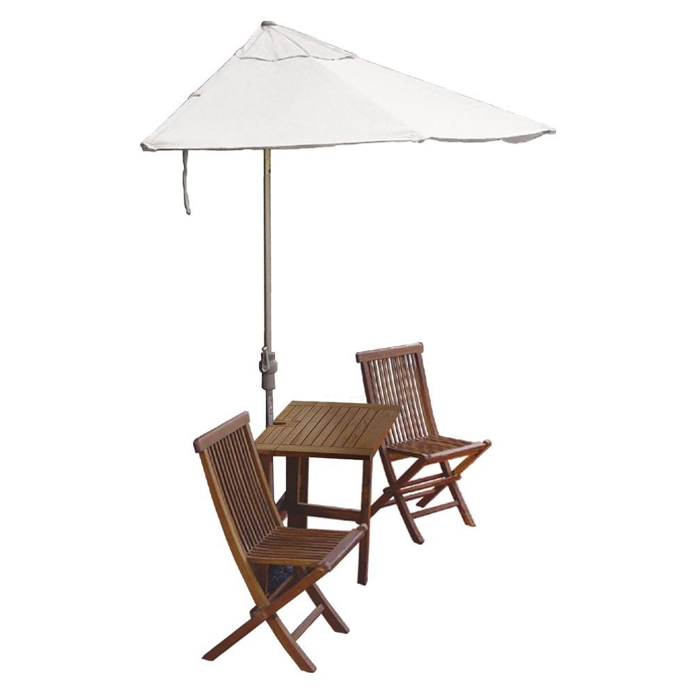 Blue Star Group Terrace Mates Villa Premium 5-Piece Patio Bistro Set with 9 ft. Natural Sunbrella Half-Umbrella