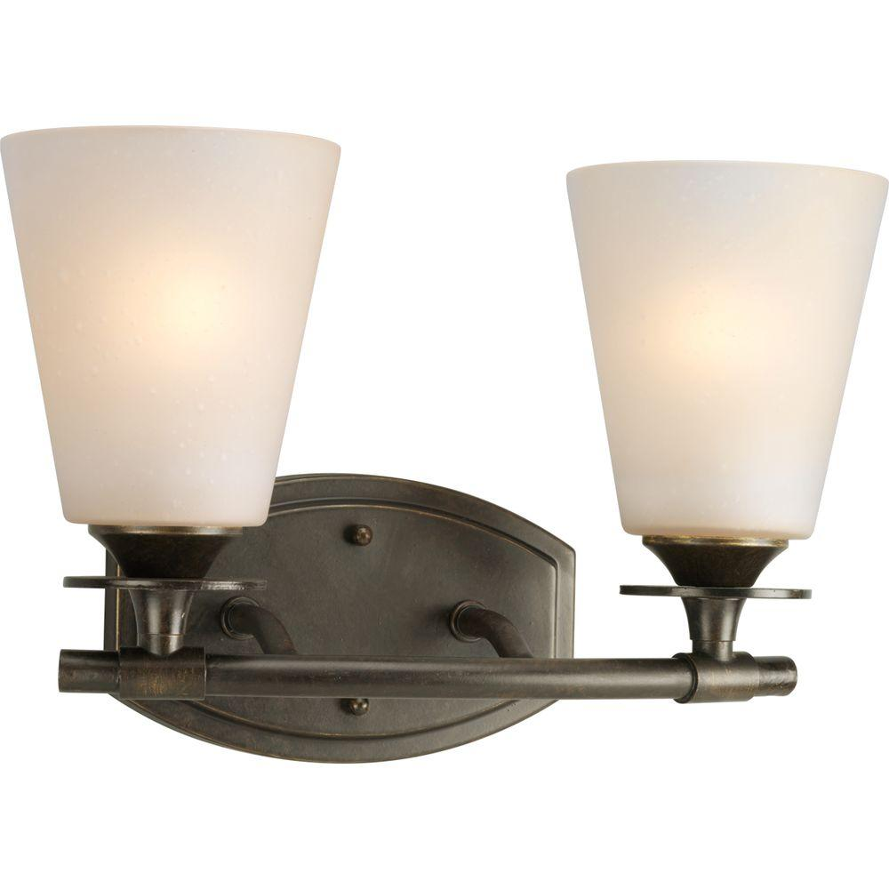 Progress Lighting Cantata Collection 2-Light Forged Bronze Bathroom Vanity Light with Glass Shades
