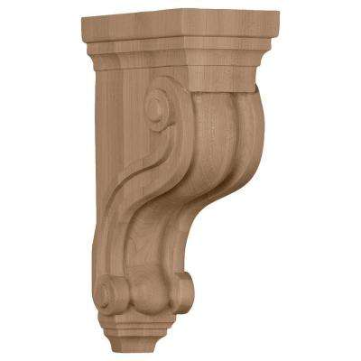 3-3/8 in. x 6-1/2 in. x 10-1/2 in. Unfinished Mahogany Boston Traditional Scroll Corbel
