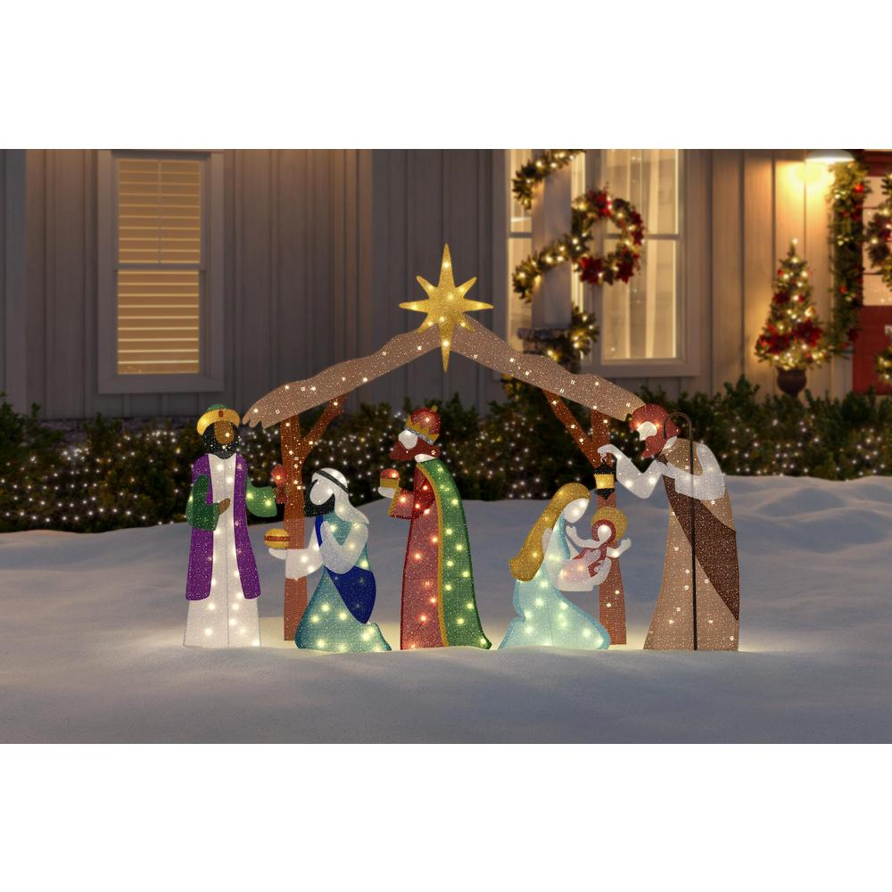 Home Accents Holiday Toasty Tinsel 62 In Life Size Christmas Nativity Scene Yard Decoration