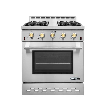 Entree 30 in. 4.5 cu. ft. Professional Style Liquid Propane Range with Convection Oven in Stainless Steel and Gold