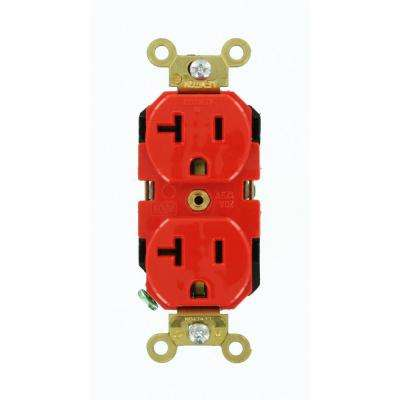 20 Amp Industrial Grade Extra Heavy Duty Self Grounding Duplex Outlet, Red