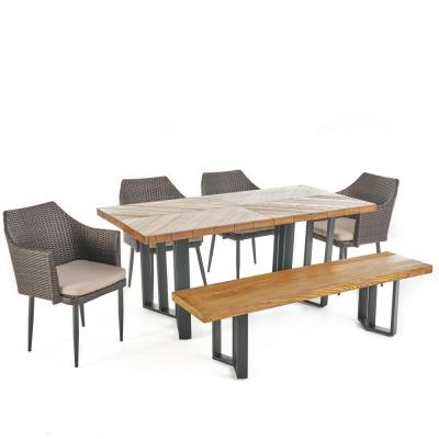 Zander Multi-Brown 6-Piece Faux Wicker Rectangle 29.75 in. Outdoor Dining Set with Cream Cushions