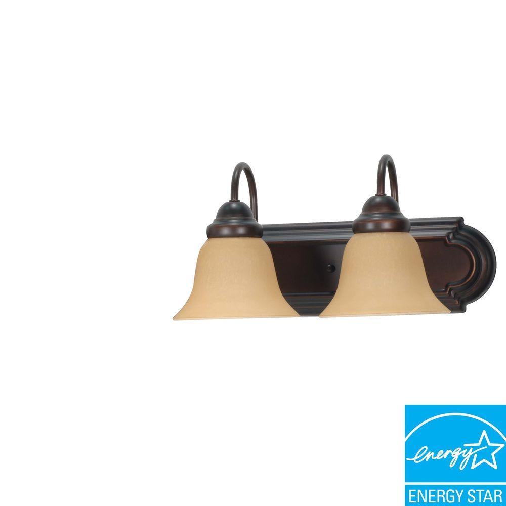 2-Light Mahogany Bronze Bath Vanity Light