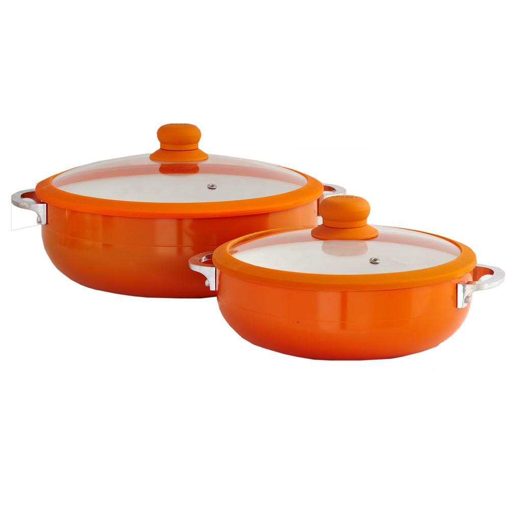 2-Piece Orange Ceramic Nonstick Caldero Set with Glass Lid