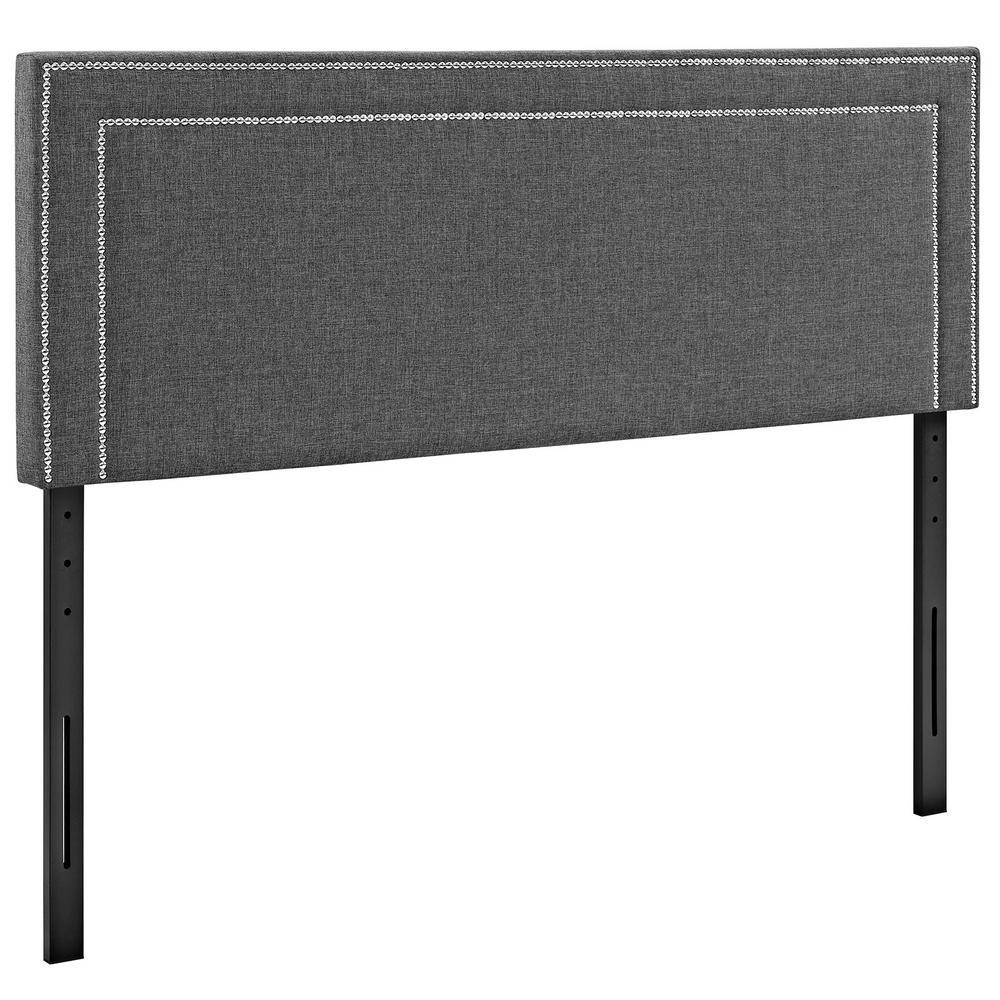 Jessamine Gray Queen Upholstered Fabric Headboard