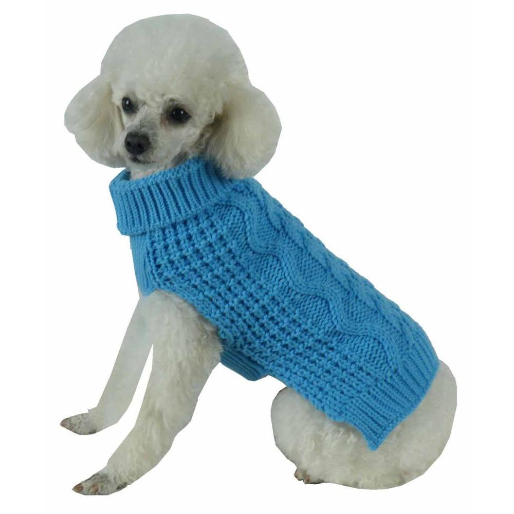 Large Light Blue Swivel-Swirl Heavy Cable Knitted Fashion Designer Dog Sweater