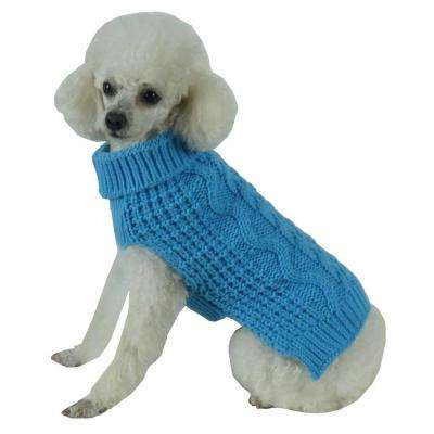 Medium Light Blue Swivel-Swirl Heavy Cable Knitted Fashion Designer Dog Sweater