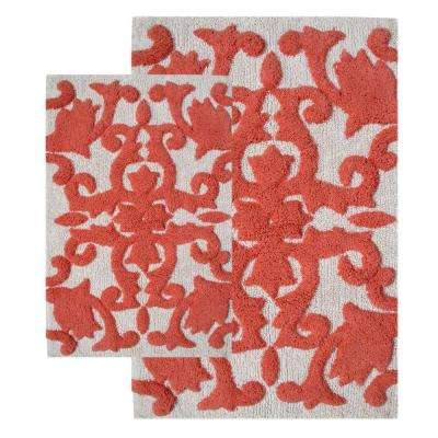 Iron Gate White and Coral 20 in. x 32 in. and 23 in. x 39 in. 2-Piece  Bath Rug Set