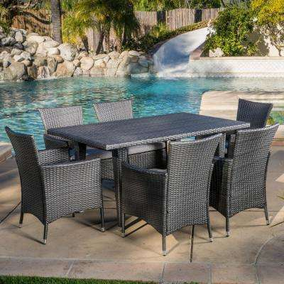 Malta Grey 7-Piece Wicker Rectangular Outdoor Dining Set with Silver Cushions