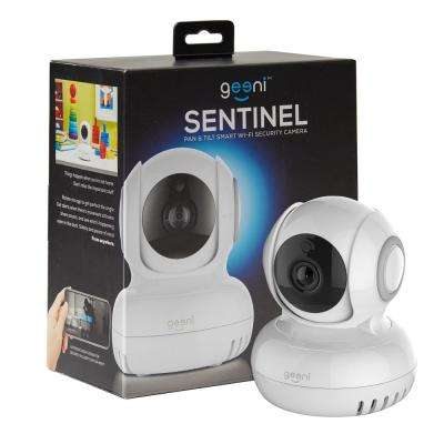 Sentinel 720p Pan and Tilt 2-Way Talk Motion Detection Indoor Mini Wi-Fi Standard Surveillance Camera White