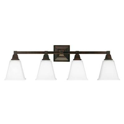 Denhelm 4-Light Burnt Sienna Wall/Bath Vanity Light with Inside White Painted Etched Glass
