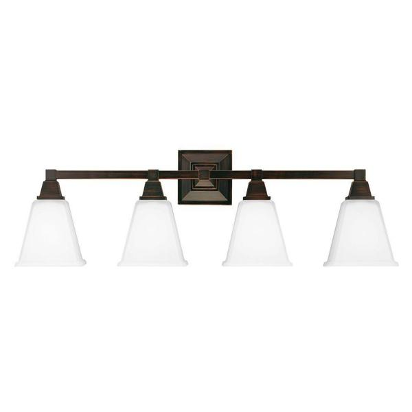 Sea Gull Lighting Denhelm 4-Light Burnt Sienna Wall/Bath Vanity Light with Inside White Painted Etched Glass