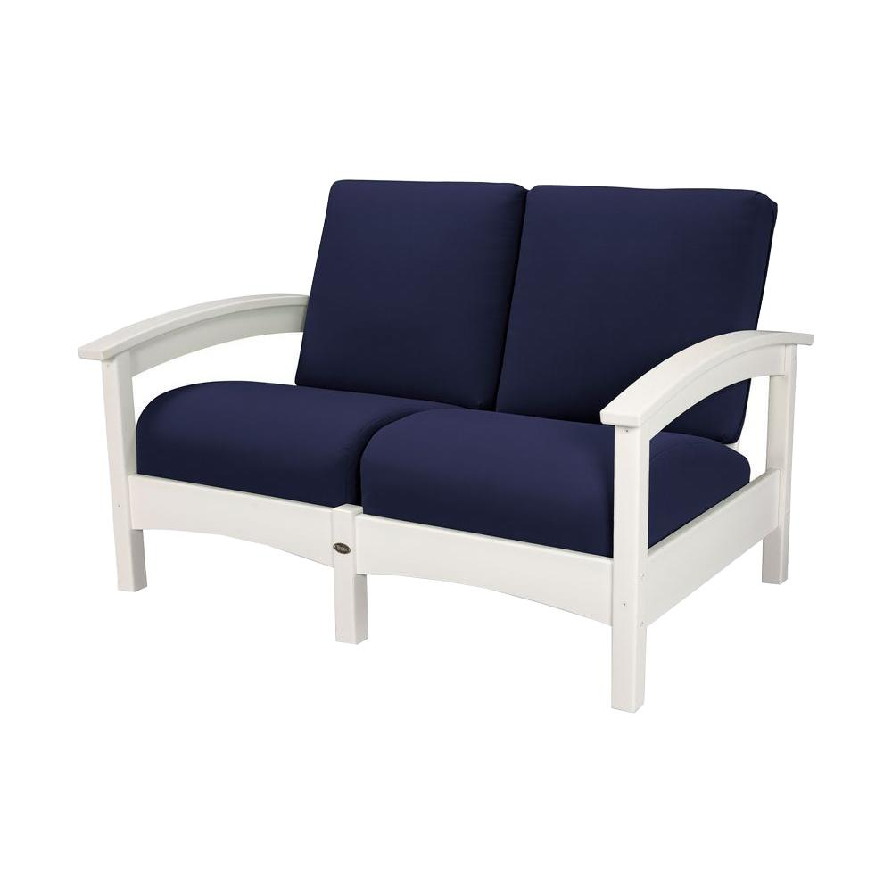 Trex Outdoor Furniture Rockport Classic White All Weather Plastic Outdoor  Lounge Chair With Sunbrella Navy Cushion TXC47CW 5439   The Home Depot