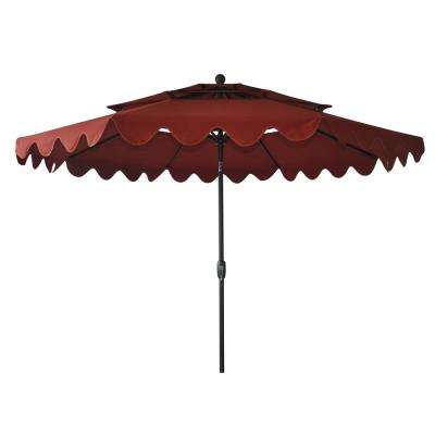 10 ft. Aluminum Market Auto Tilt Pagoda Patio Umbrella in Chili