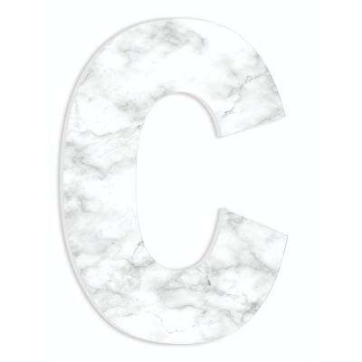"""12 in. x 18 in. """"Modern White and Grey Marble Patterned Initial C"""" by Artist Daphne Polselli Wood Wall Art"""